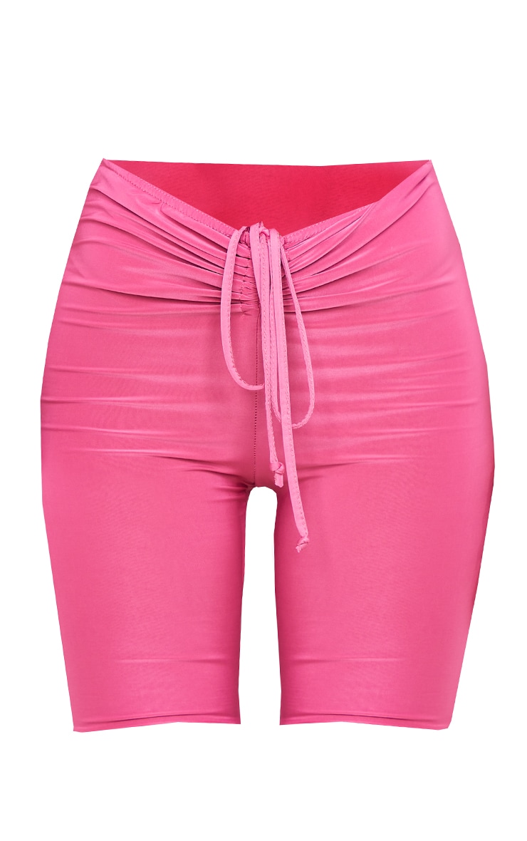 Hot Pink Slinky Ruched Waist Cycle Shorts 6