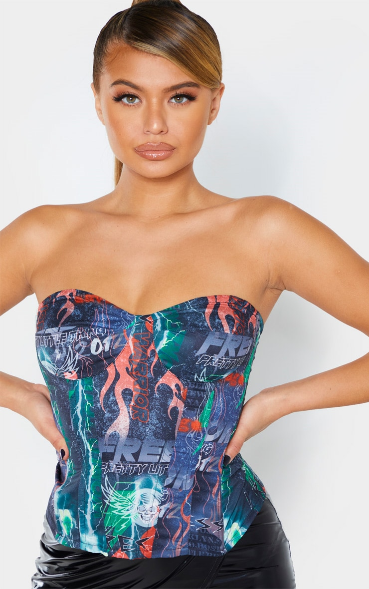 PRETTYLITTLETHING Multi Printed Structured Corset 5