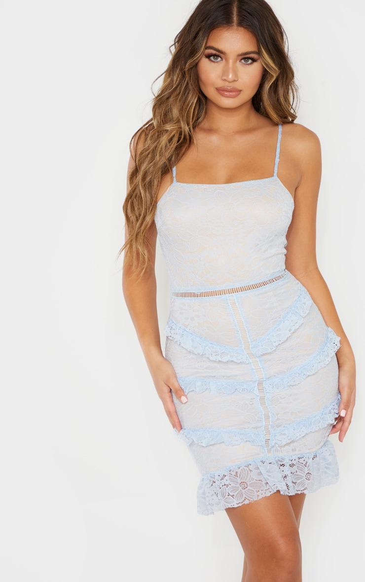 Dusty Blue Lace Frill Bodycon Dress 1
