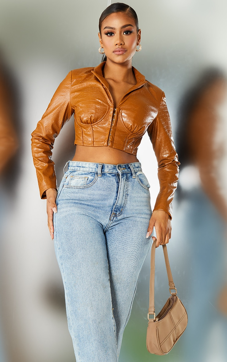 Toffee Faux Leather Croc Cup Detail Corset Cropped Blazer 1