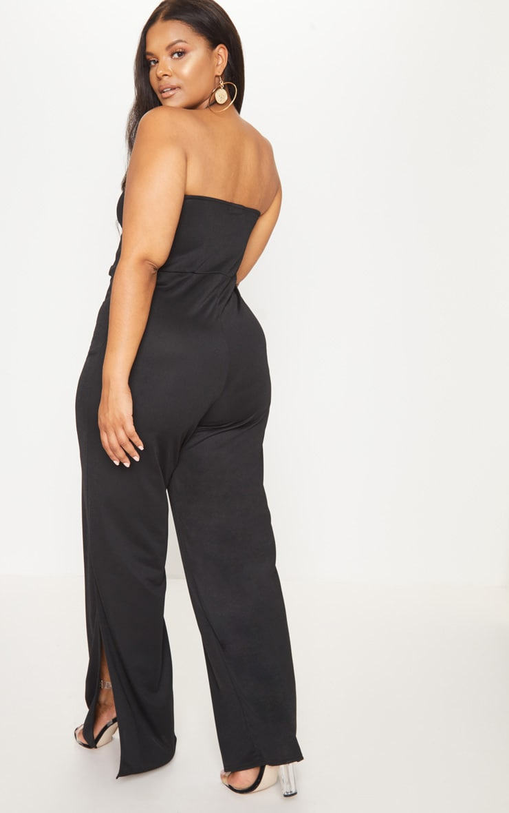 Plus Black Button Detail Bandeau Wide Leg Jumpsuit 2