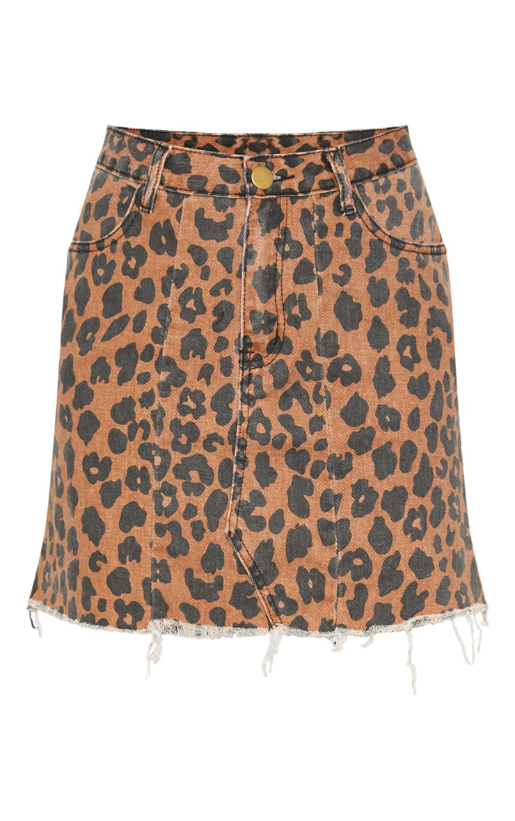 Brown Leopard Print Denim Mini Skirt  3