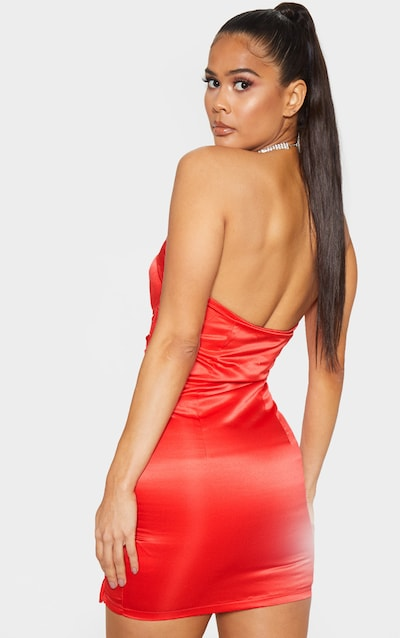 Red Satin Bandeau Lace Up Detail Bodycon Dress
