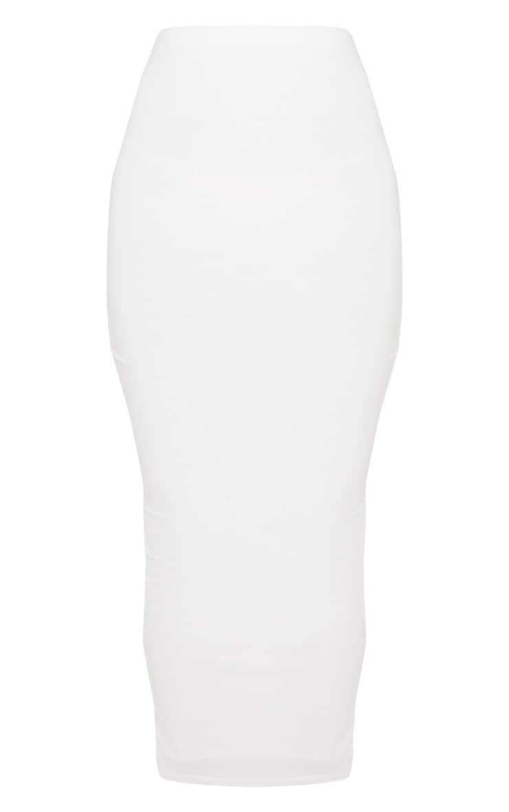 White Second Skin Slinky Midaxi Skirt 5