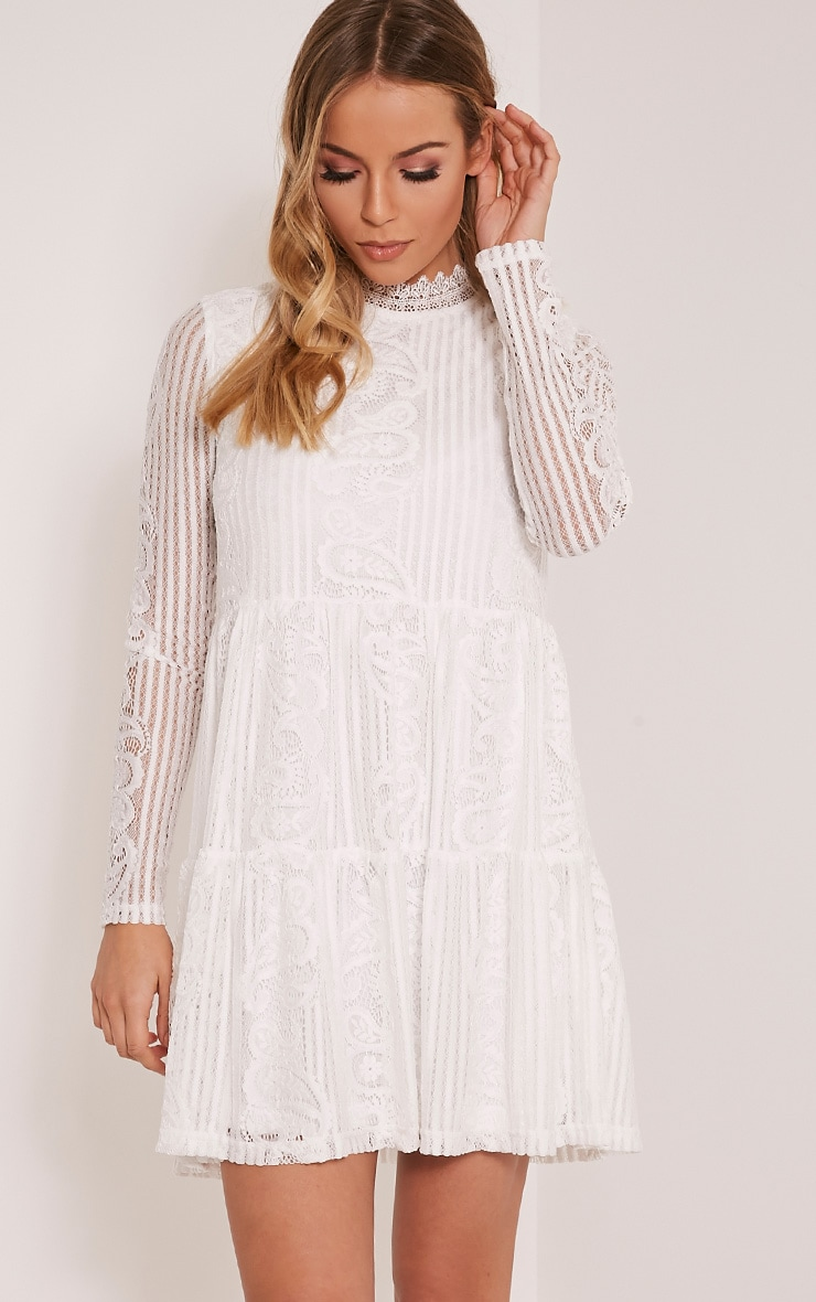 Saffron White High Neck Lace Skater Dress 1