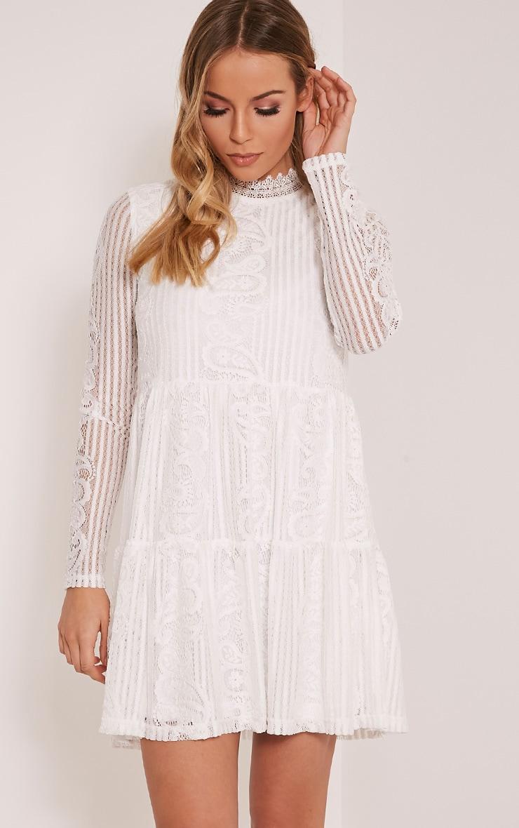 Saffron White High Neck Lace Skater Dress Prettylittlething