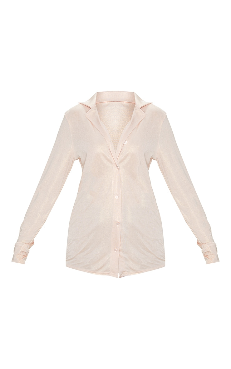 Rose Gold Metallic Long Basic Shirt 5