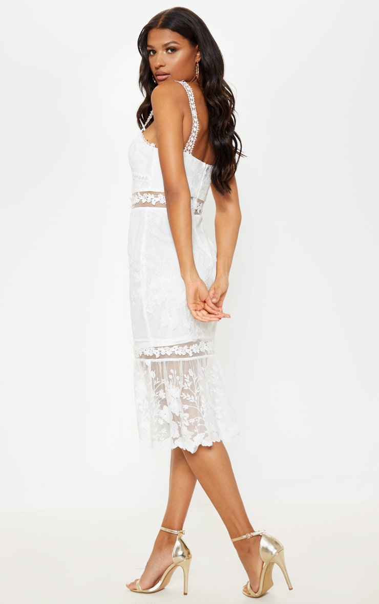 White Mixed Lace Midi Dress 2