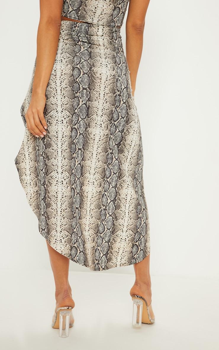 Stone Snake Print Ruched Side Split Maxi Skirt 5