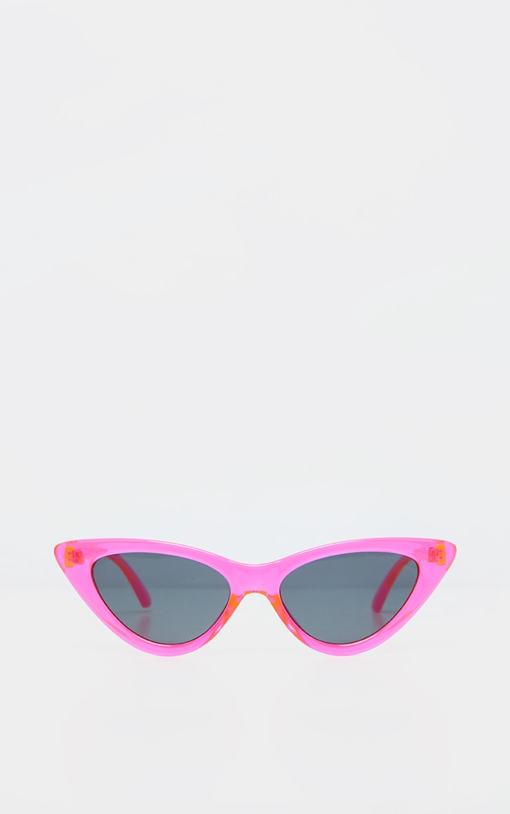 Neon Pink Transparent Frame Cateye Sunglasses 2