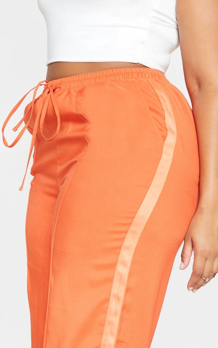 Plus Orange Drawstring Waist Satin Stripe Pants  5