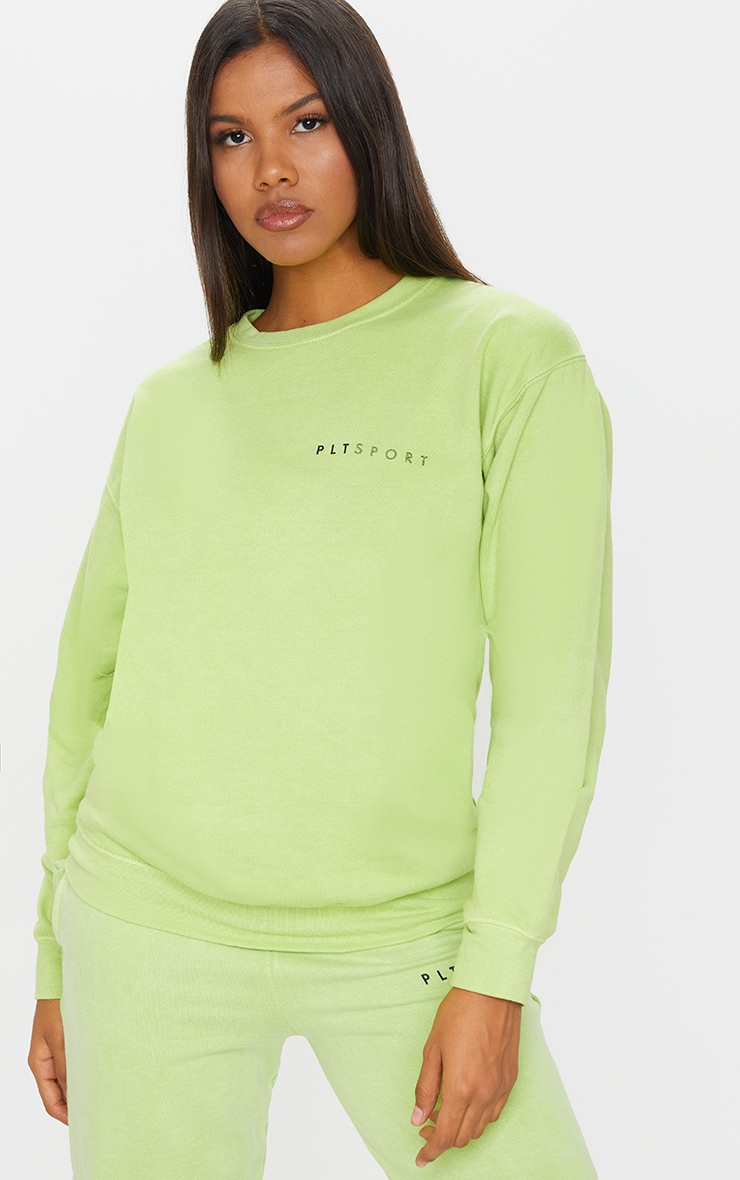 PRETTYLITTLETHING Lime Wash Sports Sweater 1