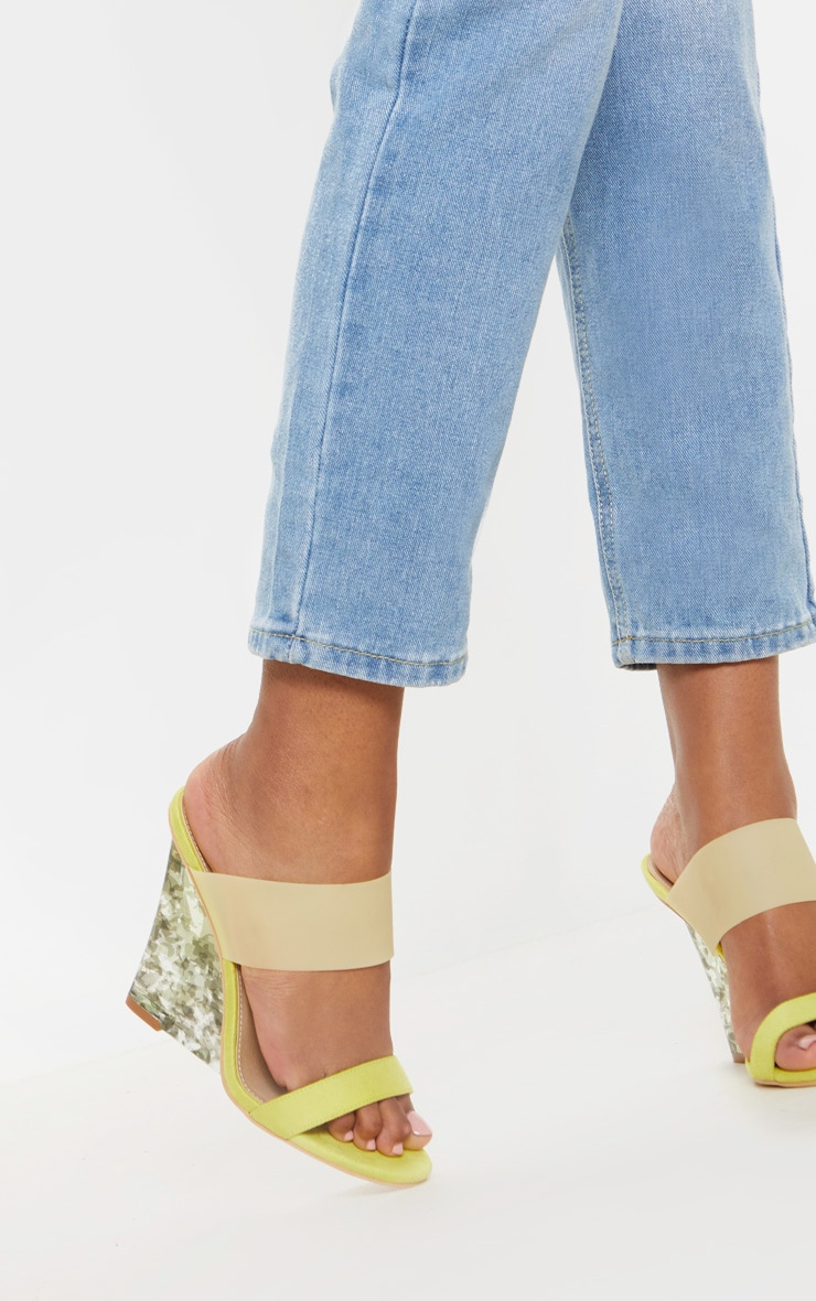Yellow Tortoise Wedge Mule Sandal 1