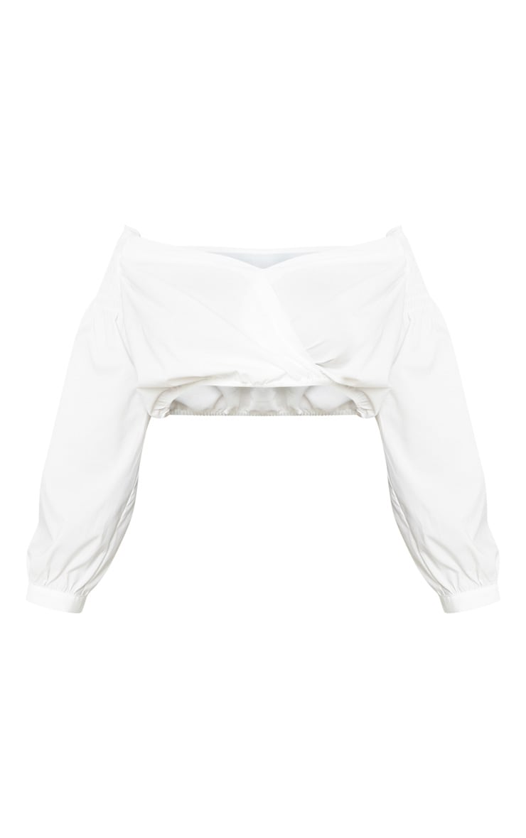 Tall White Cropped Off The Shoulder Puff Sleeve Top 3