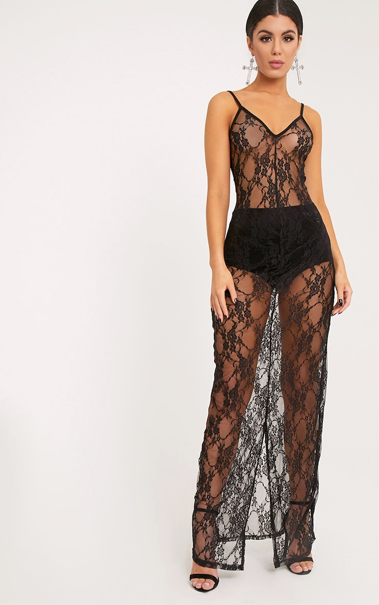 Kelsia Black Lace Plunge Maxi Dress 2