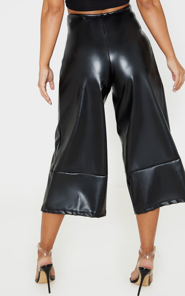 Petite Black PU Culotte Pants 4