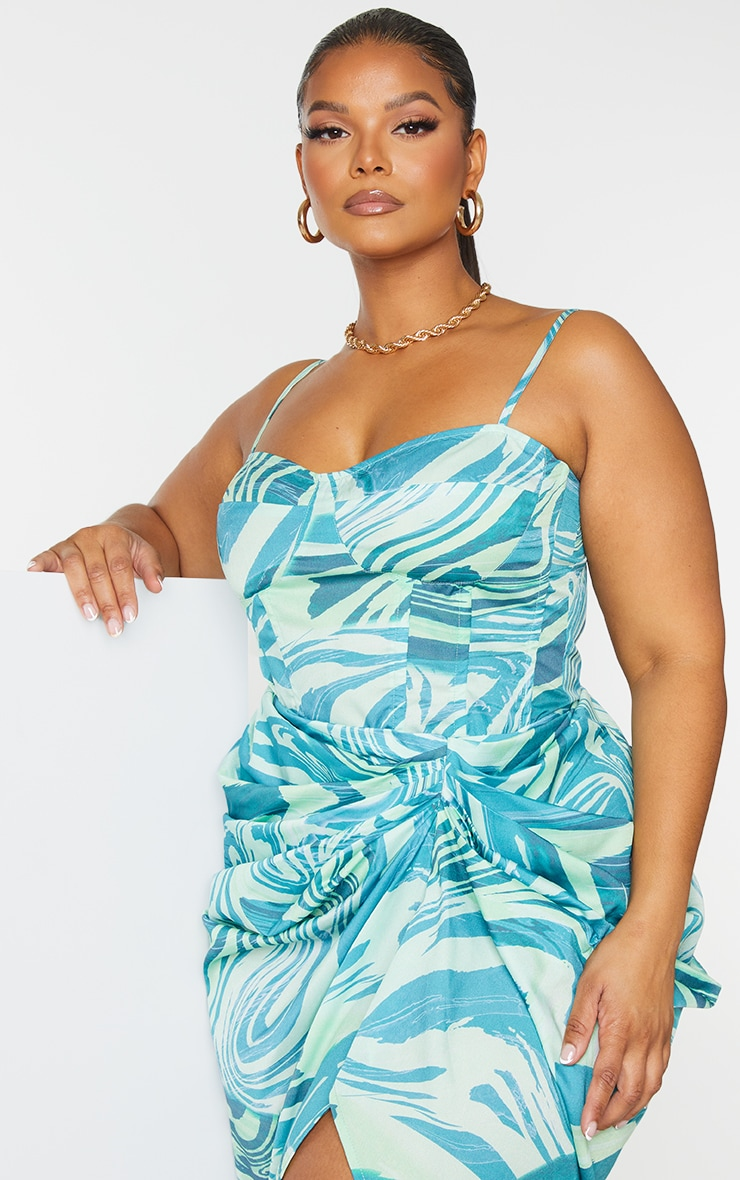 Plus Blue Abstract Print Structured Corset Top 1