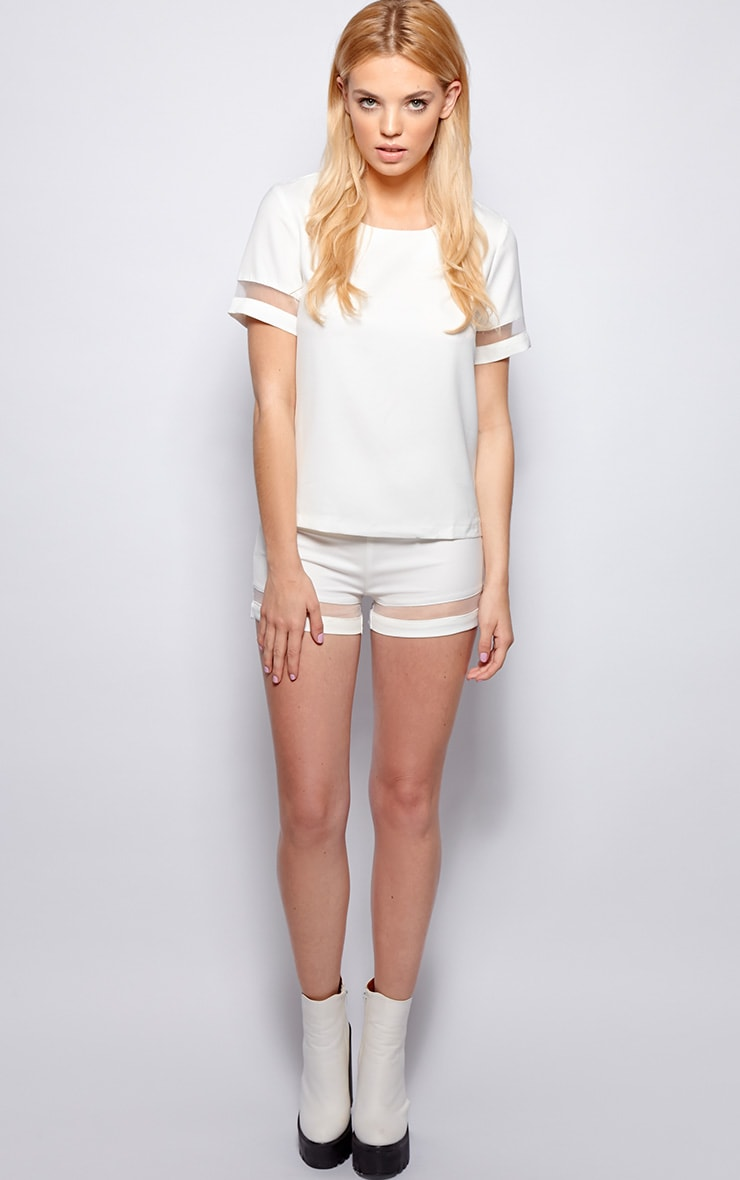 Ashley White Mesh Insert Chiffon Shorts 5