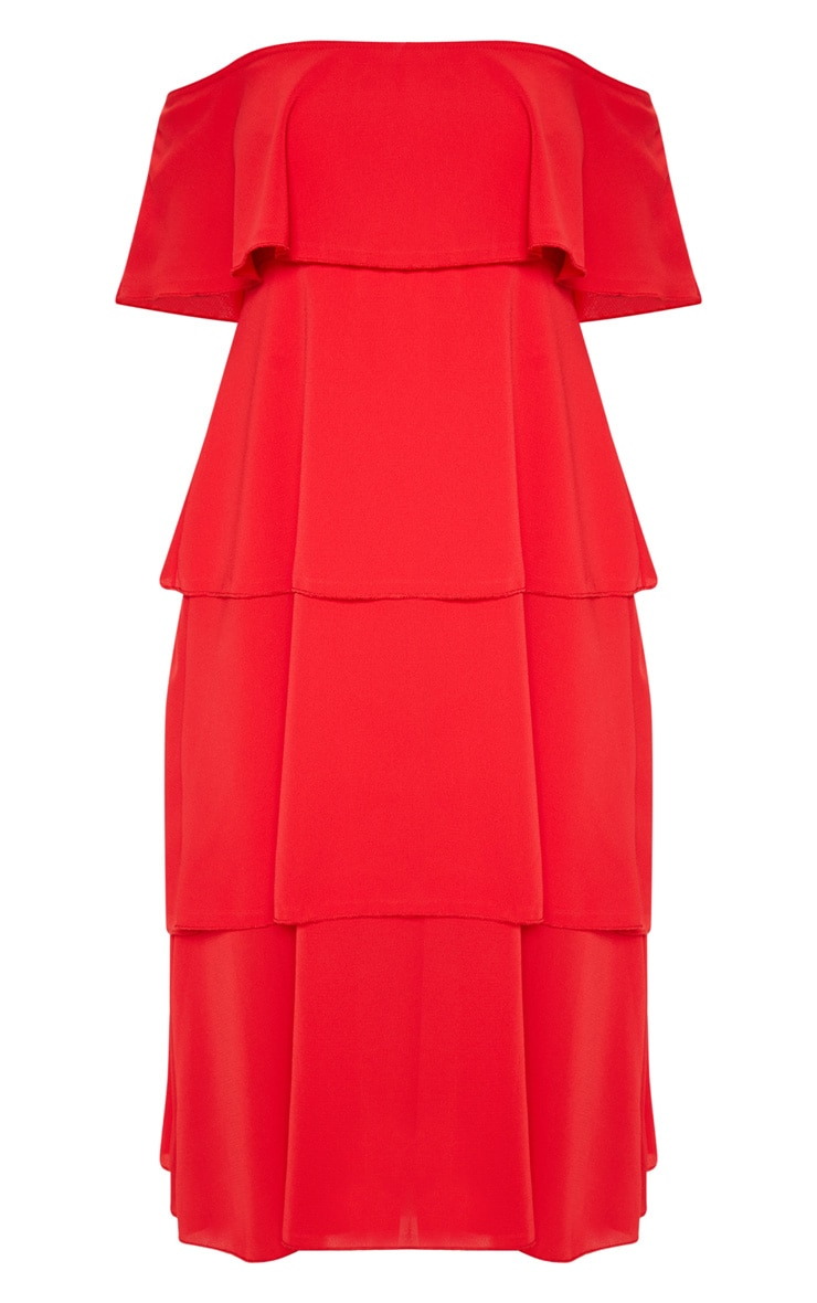 Red Tiered Frill Detail Midi Dress 3