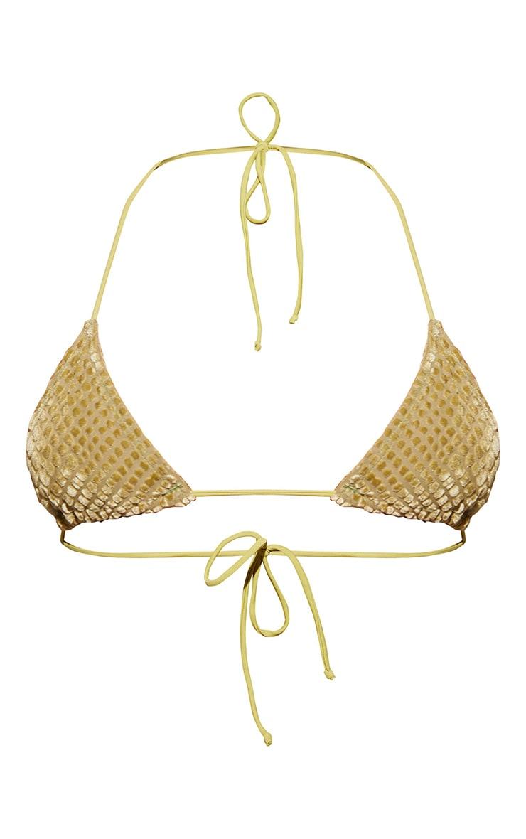 Olive Devore Triangle Bikini Top 5