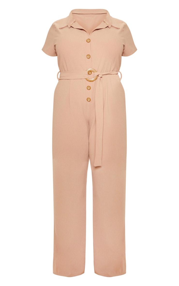 Plus Camel Button Front Belt Detail Jumpsuit 3