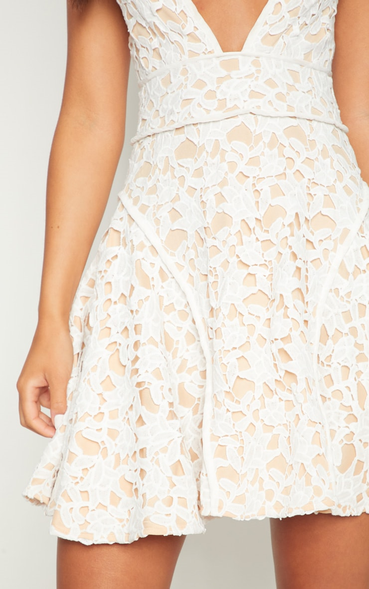 White Thick Lace Plunge Binding Detail Skater Dress 5