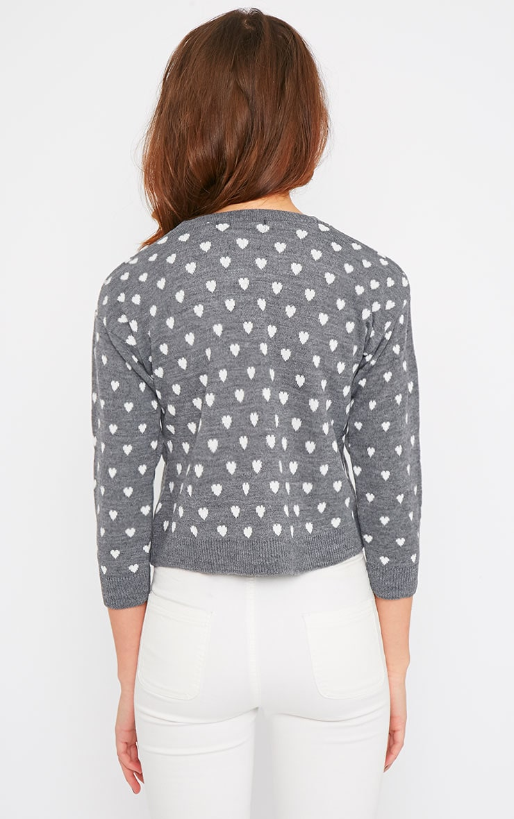 Kyna Grey Heart Print Sweater 2