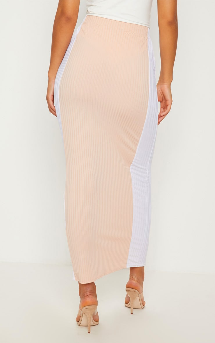 Pale Pink Colour Block Midaxi Skirt  4