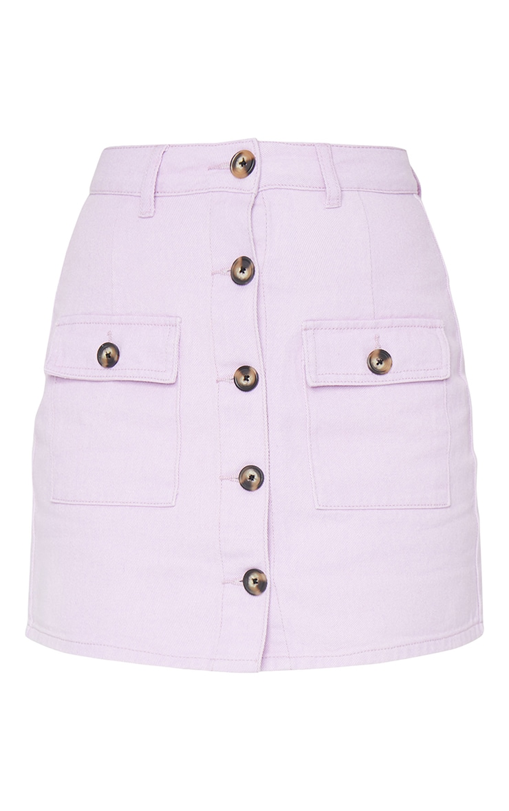 Lilac Button Up Pocket Detail Denim Mini Skirt 6