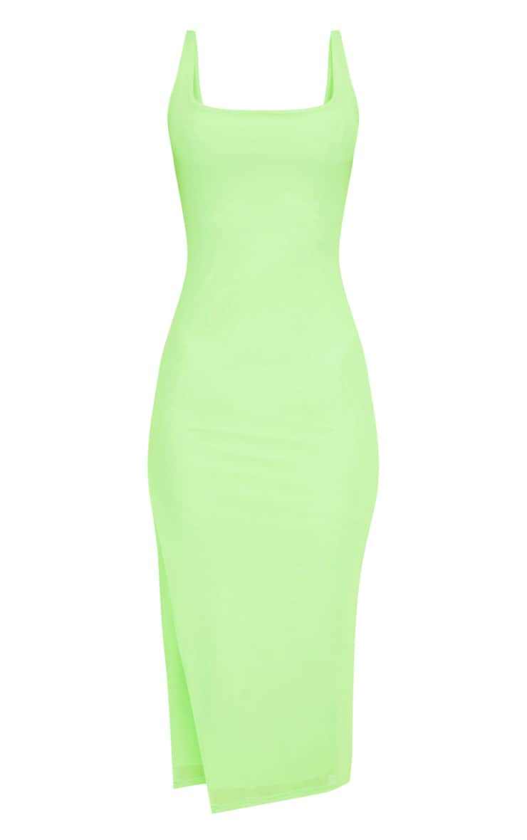 Neon Lime Mesh Split Leg Midi Dress 3