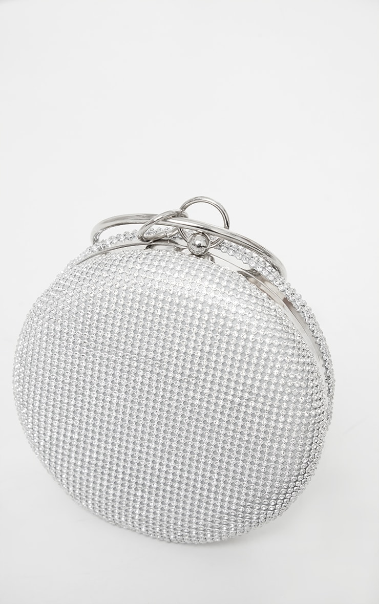 Silver Diamante Round Grab Bag 4