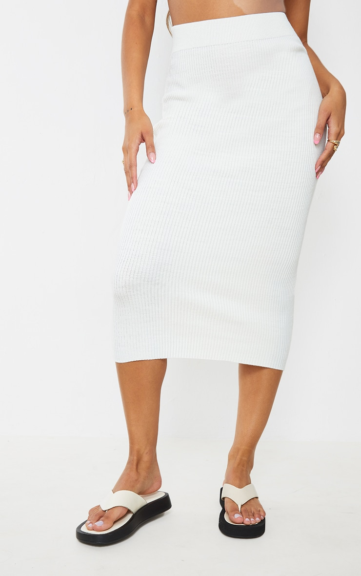 Cream Ribbed Knitted Midaxi Skirt 2
