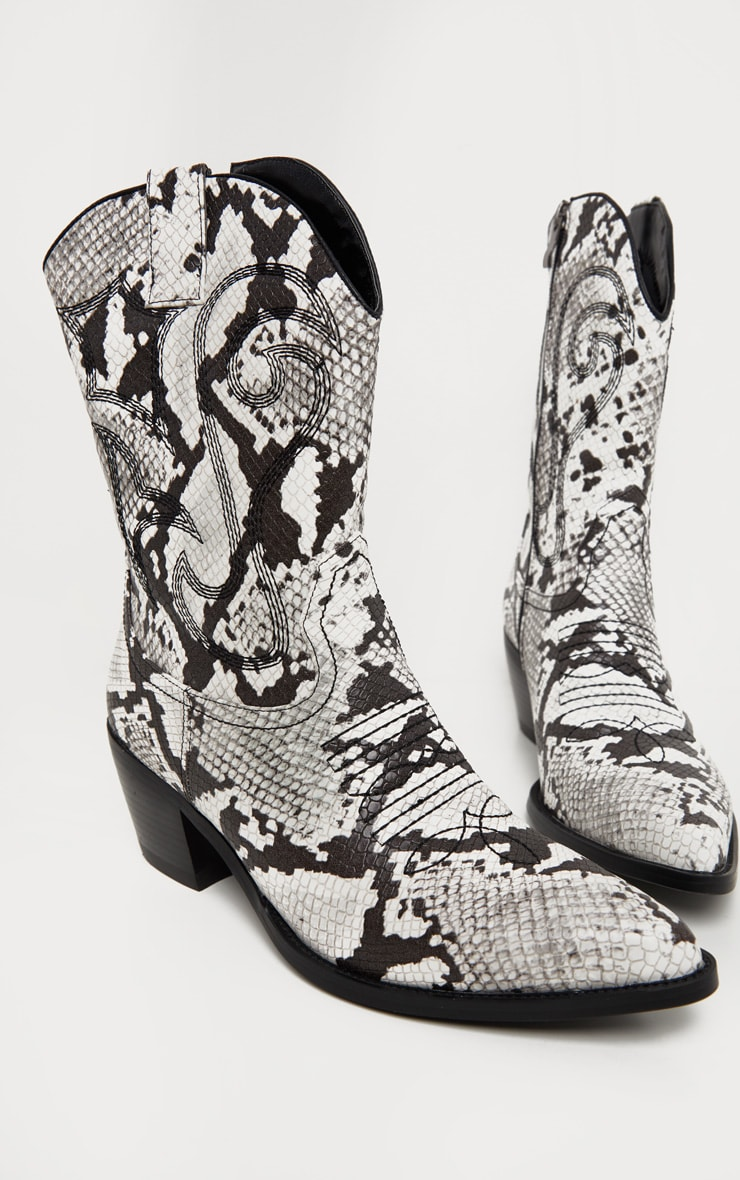 Snake Stitch Detail Western Calf Boot 4