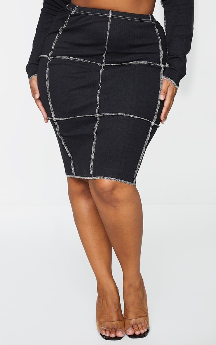 Plus Black Contrast Rib Midi Skirt 2