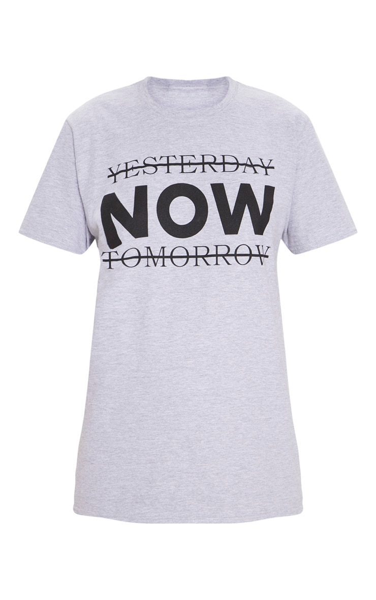 Grey Marl Yesterday Now Tomorrow Active T Shirt  3