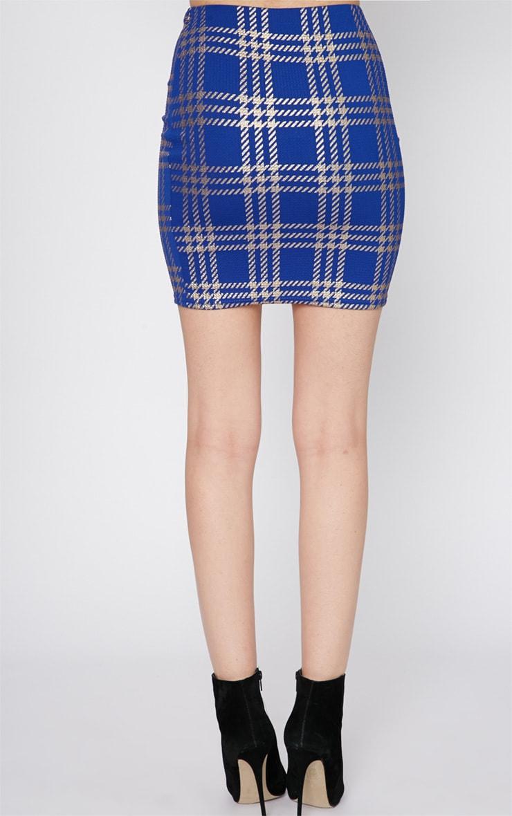 Totsi Cobalt and Gold Checked Mini Skirt  2