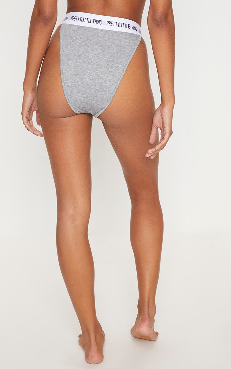 PRETTYLITTLETHING Grey High Leg Panties 4