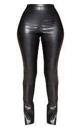 Black Faux Leather Split Hem Pants 1