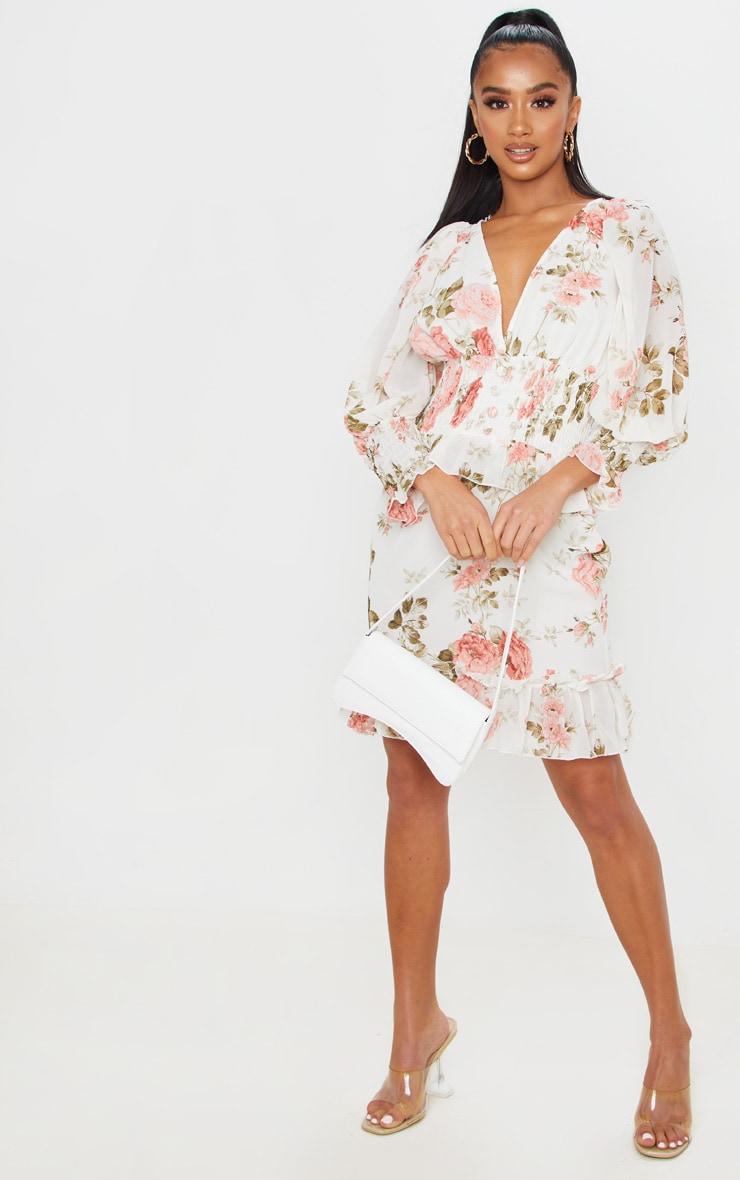 Petite Cream Floral Button Detail Puff Sleeve Chiffon Dress 4