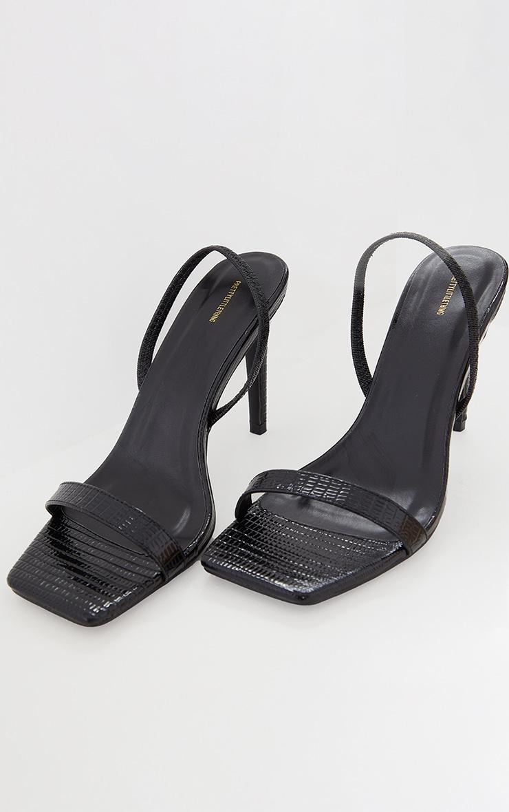 Black Snake Square Toe Sling Back Heeled Sandals 3