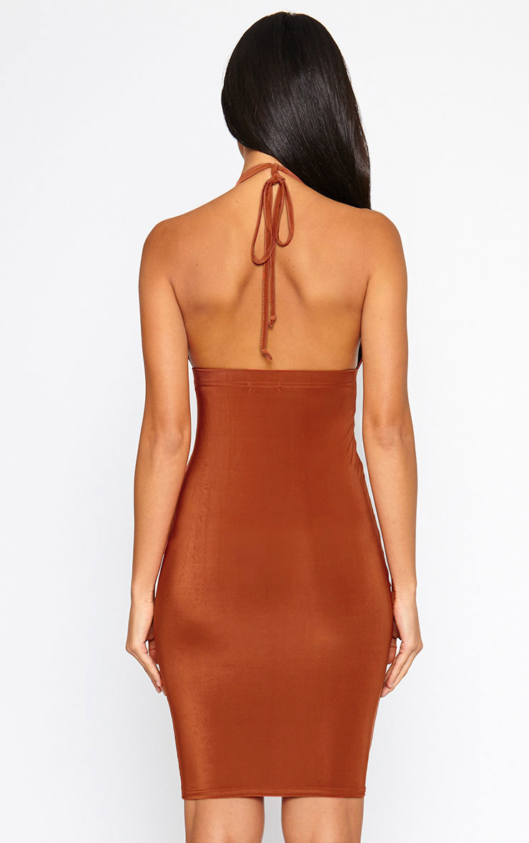 Lucienne Rust Plunge Ruched Front Dress 2