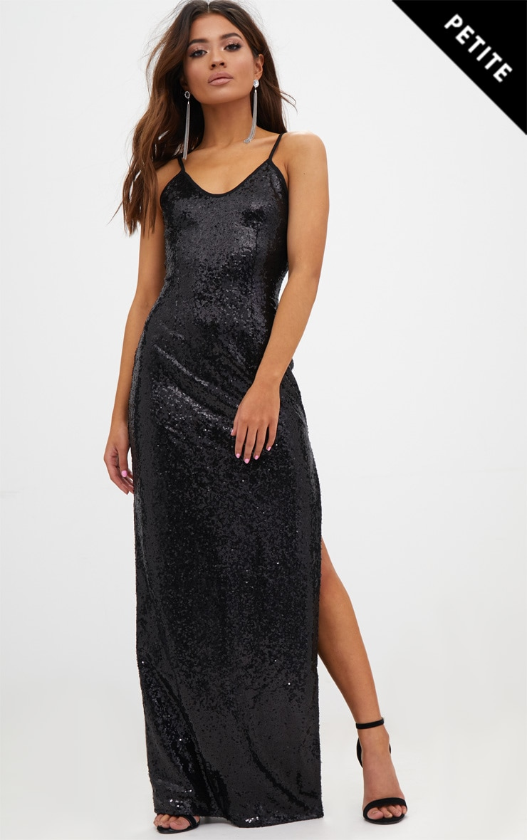 Petite Black Side Split Sequin Maxi Dress 1
