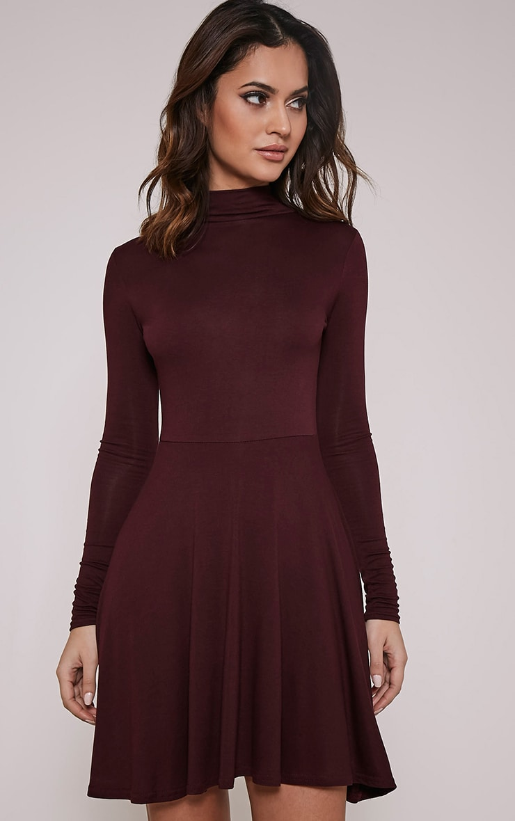 Basic robe patineuse prune à col montant 4