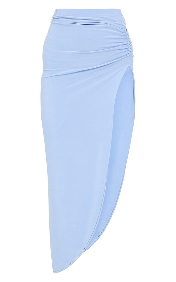 Cornflower Blue Ruched Side Split Midaxi Skirt 5