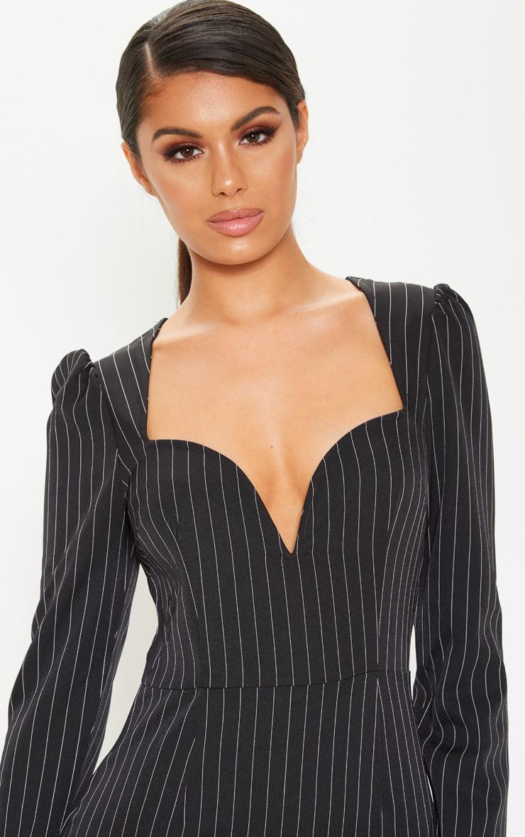 Black Pinstripe V Bar Puff Sleeve Bodycon Dress 6
