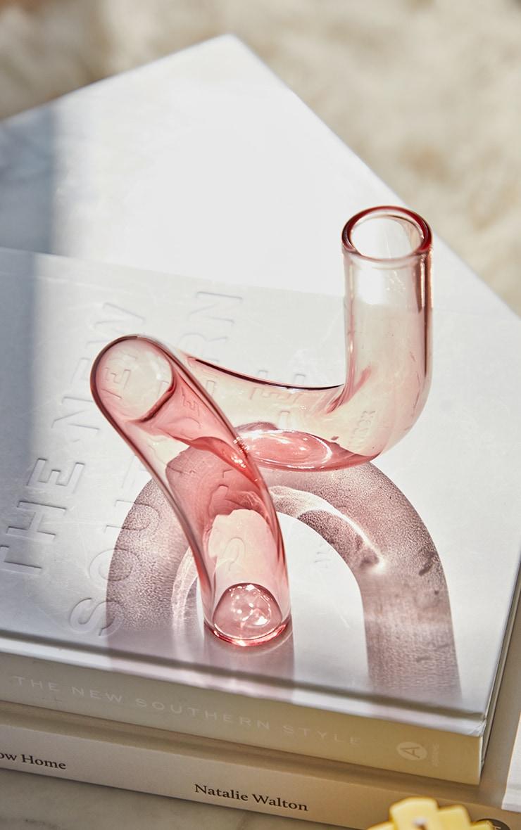 Pink Swirl Glass Candlestick Holder 2