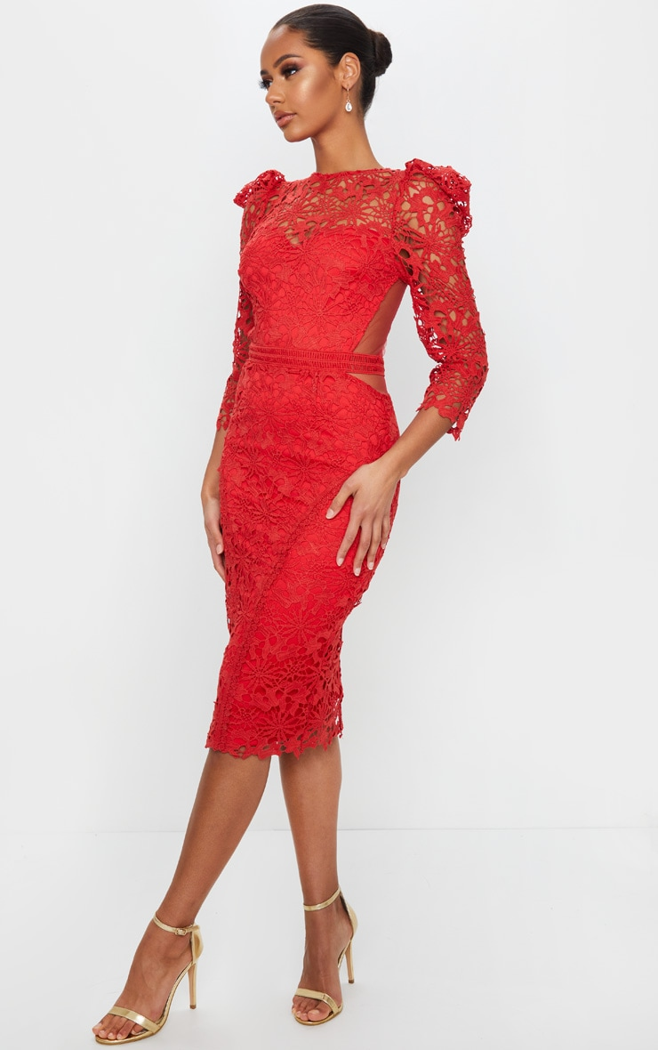 Red Lace Open Back Long Sleeve Midi Dress 3