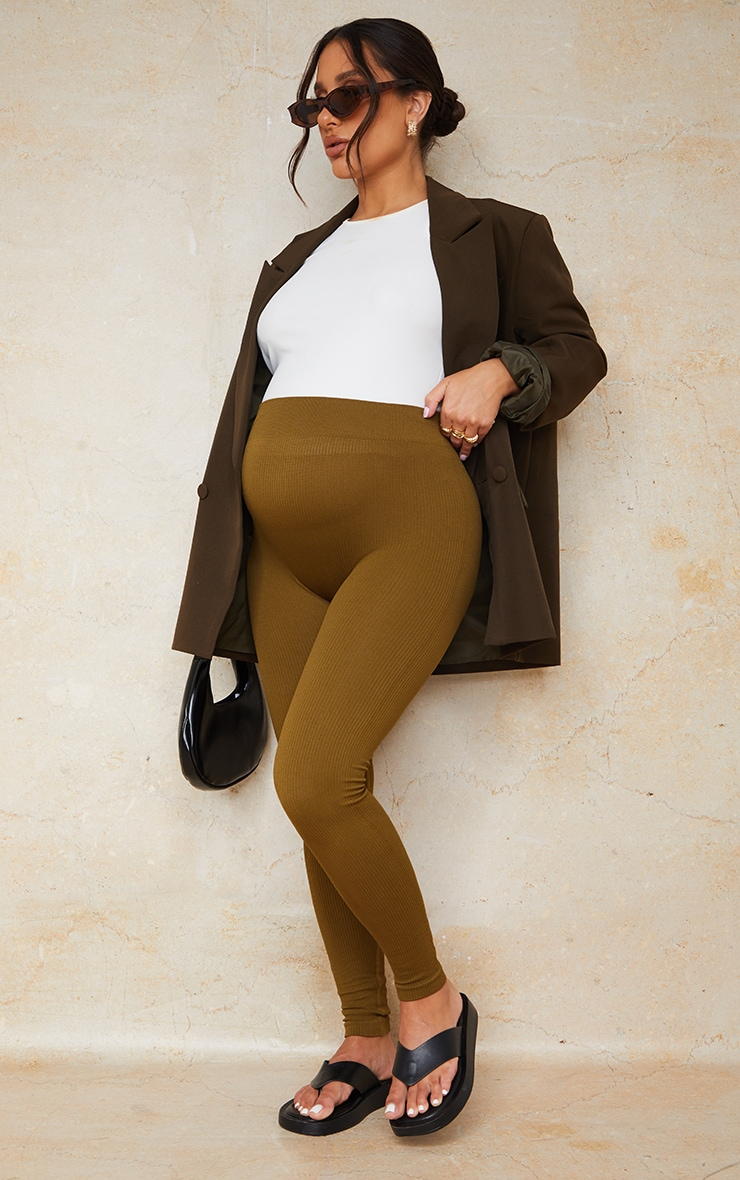 Maternity Olive Contour Bump Support Ribbed Leggings image 1