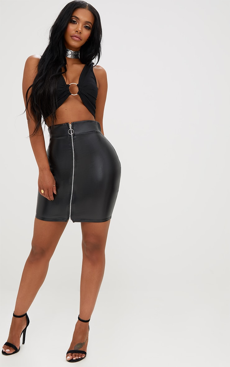 Shape Black Zip Front PU Mini Skirt 5