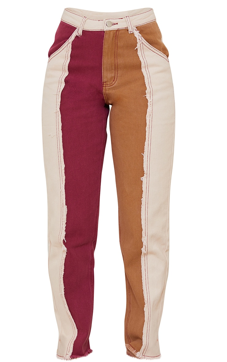 Tan Frayed Patchwork Mom Jeans 5